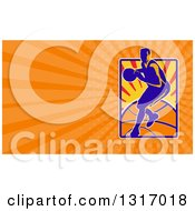 Clipart Of A Retro Basketball Player In Action And Orange Rays Background Or Business Card Design Royalty Free Illustration