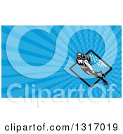 Clipart Of A Retro Scuba Diver Swimming Over A Diamond And Blue Rays Background Or Business Card Design Royalty Free Illustration by patrimonio