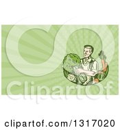 Retro Woodcut Organic Farmer Or Grocer With With Produce And Green Rays Background Or Business Card Design