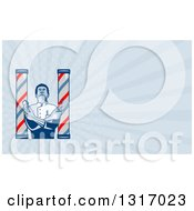 Retro Woodcut Barber Between Poles Holding Scissors And Clippers And Rays Background Or Business Card Design