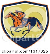 Clipart Of A Retro Woodcut Horse Racing Jockey In An Orange Navy Blue White And Green Shield Royalty Free Vector Illustration