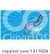 Clipart Of A Retro Scuba Diver Swimming With An Angel Fish And Blue Rays Background Or Business Card Design Royalty Free Illustration