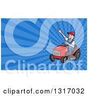 Clipart Of A Cartoon Landscaper Waving And Operating A Ride On Lawn Mower And Blue Rays Background Or Business Card Design Royalty Free Illustration