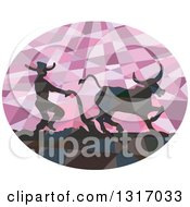 Retro Low Poly Geometric Silhouetted Southeast Asian Farmer And Water Buffalo Plowing A Field In A Purple Oval
