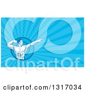 Clipart Of A Retro Bodybuilder Flexing And Pointing And Blue Rays Background Or Business Card Design Royalty Free Illustration