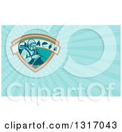 Clipart Of A Retro Exterminator Pest Control Worker Using Spray On A Shield With A Rat Mouse Fly And Cockroach And Blue Rays Background Or Business Card Design Royalty Free Illustration by patrimonio