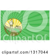 Clipart Of A Retro Landscaper Mowing A Lawn Near A House And Green Rays Background Or Business Card Design Royalty Free Illustration