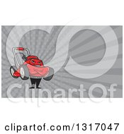 Clipart Of A Cartoon Lawn Mower Man With Folded Arms And Rays Background Or Business Card Design Royalty Free Illustration by patrimonio