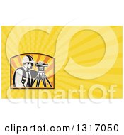 Clipart Of A Retro Surveyor Using A Theodolite And Yellow Rays Background Or Business Card Design Royalty Free Illustration by patrimonio