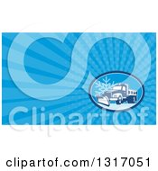 Clipart Of A Retro Snow Plow Truck On A Road With A Snowflake And Blue Rays Background Or Business Card Design Royalty Free Illustration