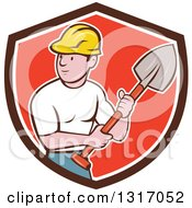 Clipart Of A Cartoon White Male Construction Worker Builder Holding A Shovel In A Brown White And Red Shield Royalty Free Vector Illustration