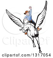 Poster, Art Print Of Cartoon White Male Cowboy Riding A Winged Pegasus Horse