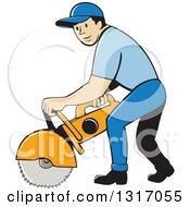 Clipart Of A Cartoon White Male Construction Worker Using A Concrete Cutter Tool Royalty Free Vector Illustration