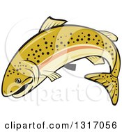 Clipart Of A Cartoon Leaping Rainbow Trout Fish Royalty Free Vector Illustration