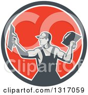 Clipart Of A Retro Male Plasterer Holding Trowels In A Navy Blue White And Red Circle Royalty Free Vector Illustration