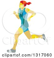 Clipart Of A Retro Low Poly Geometric Red Haired White Female Marathon Runner Royalty Free Vector Illustration by patrimonio