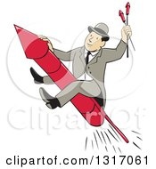 Clipart Of A Cartoon Man Wearing A Suit And Bowler Hat Riding A Firework Rocket Royalty Free Vector Illustration by patrimonio