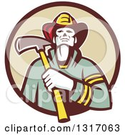 Clipart Of A Retro Fireman Holding An Axe In A Brown And Tan Circle Royalty Free Vector Illustration