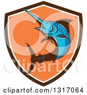 Clipart Of A Retro Blue Marlin Fish In A Brown White And Orange Shield Royalty Free Vector Illustration