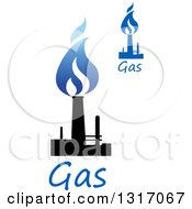 Clipart Of Black And Blue Natural Gas And Flame Designs With Text 9 Royalty Free Vector Illustration