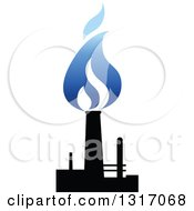 Clipart Of A Black And Blue Natural Gas And Flame Design 9 Royalty Free Vector Illustration