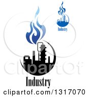 Clipart Of Black And Blue Natural Gas And Flame Designs With Text 8 Royalty Free Vector Illustration