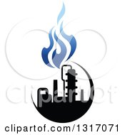 Clipart Of A Black And Blue Natural Gas And Flame Design 8 Royalty Free Vector Illustration