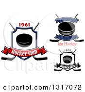 Clipart Of Hockey Pucks And Crossed Sticks With Banners And Text Royalty Free Vector Illustration