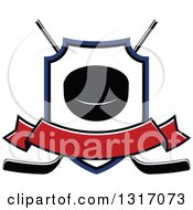 Clipart Of A Hockey Puck Inside A Shield Over Crossed Sticks With A Blank Red Banner Royalty Free Vector Illustration by Vector Tradition SM