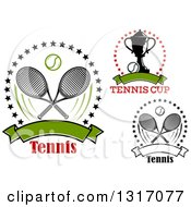 Clipart Of Tennis Ball Racket And Trophy Designs With Text Royalty Free Vector Illustration