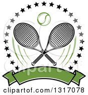 Clipart Of A Tennis Ball And Crossed Rackets Inside A Circle Of Stars Above A Blank Green Banner Royalty Free Vector Illustration