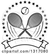 Clipart Of A Black And White Tennis Ball And Crossed Rackets Inside A Circle Of Stars Above A Blank Banner Royalty Free Vector Illustration