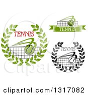 Clipart Of Tennis Ball Wreath And Net Designs With Text Royalty Free Vector Illustration