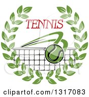 Clipart Of A Tennis Ball Flying Over A Net With Red Text In A Green Wreath Royalty Free Vector Illustration