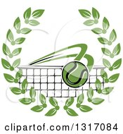 Clipart Of A Tennis Ball Flying Over A Net In A Green Wreath Royalty Free Vector Illustration