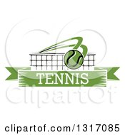 Clipart Of A Tennis Ball Flying Over A Net And A Green Text Banner Royalty Free Vector Illustration