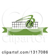 Clipart Of A Tennis Ball Flying Over A Net And A Blank Green Banner Royalty Free Vector Illustration