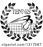 Clipart Of A Black And White Tennis Ball Flying Over A Net With Text In A Wreath Royalty Free Vector Illustration