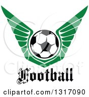 Clipart Of A Soccer Ball With Green Wings Over Text Royalty Free Vector Illustration