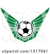 Clipart Of A Soccer Ball With Green Wings Royalty Free Vector Illustration by Vector Tradition SM