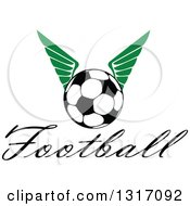 Clipart Of A Soccer Ball With Green Wings Over Text 2 Royalty Free Vector Illustration