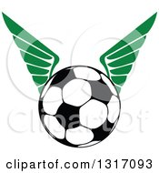 Clipart Of A Soccer Ball With Green Wings 2 Royalty Free Vector Illustration by Vector Tradition SM