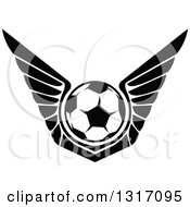 Clipart Of A Black And White Soccer Ball With Wings Royalty Free Vector Illustration by Vector Tradition SM