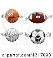 Cartoon Basketball American Football Volleyball And Soccer Ball Characters