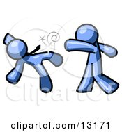 Blue Man Being Punched By Another Clipart Illustration by Leo Blanchette