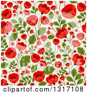 Seamless Red Poppy Flowers On Green Floral Background Pattern