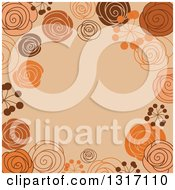 Clipart Of A Retro Doodled Brown Orange And Tan Background With Text Space Royalty Free Vector Illustration