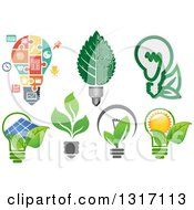 Clipart Of Green Energy Light Bulbs Royalty Free Vector Illustration