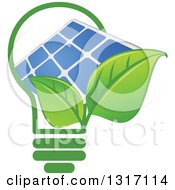 Light Bulb With Green Leaves And A Solar Panel
