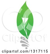 Clipart Of A Green Leaf Light Bulb Royalty Free Vector Illustration by Vector Tradition SM
